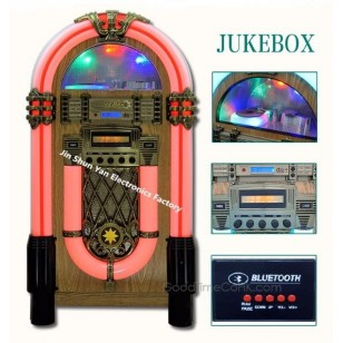Full Size Retro Jukebox Original Wood Color with CD Player,Bluetooth AUX-in Function
