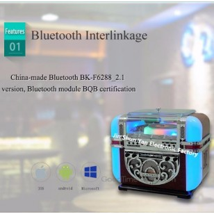 Table-top Jukebox CD Player,AM/FM,USB/SD Docking and Bluetooth Function
