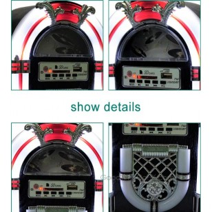 Mini Desktop Jukebox with USB/SD,AM/FM AUX Functions and LED Light